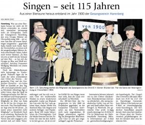 Wochenblatt 115 Jahre Gesangverein